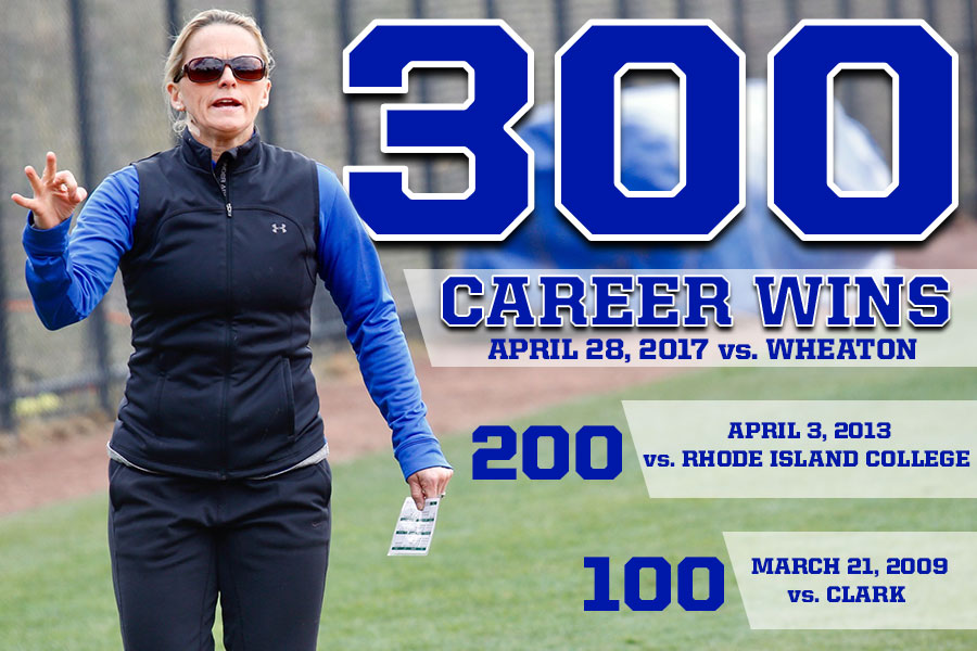 Blue Softball Goes 1-1 On Day One Of NEWMACs; O'Meara Records 300th Win