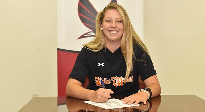 Mary-Margaret Maggard signs letter of intent to play softball at Polk State. (Photo by Tom Hagerty, Polk State.)