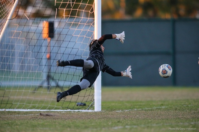 Jordan Aldama makes the game-winning save in penalty kicks against Golden West