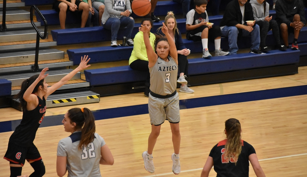 Sophomore Jacqulynn Nakai (Coconino HS) became just the third Pima women's basketball player to surpass 1,000 career points on Saturday as she scored 35 in Pima's 83-76 win at Eastern Arizona College. The Aztecs improved to 12-9 overall and 8-5 in ACCAC play. Photo by Ben Carbajal