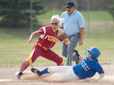 Ferris State's Lynsay Weaver steps to make the force out in Friday's 6-5 game-two triumph over Lake Superior State.  (Photo by Ed Hyde)