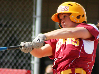 Chelsea Morris accounted for two of Ferris State's four hits in the one-run decision over Northwood.  (Photo by Sandy Gholston)