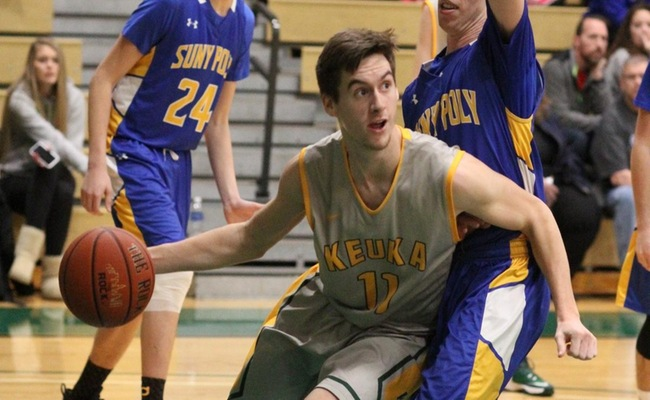 Matt Estes (11) had seven points for Keuka College in the loss -- Photo by Ed Webber