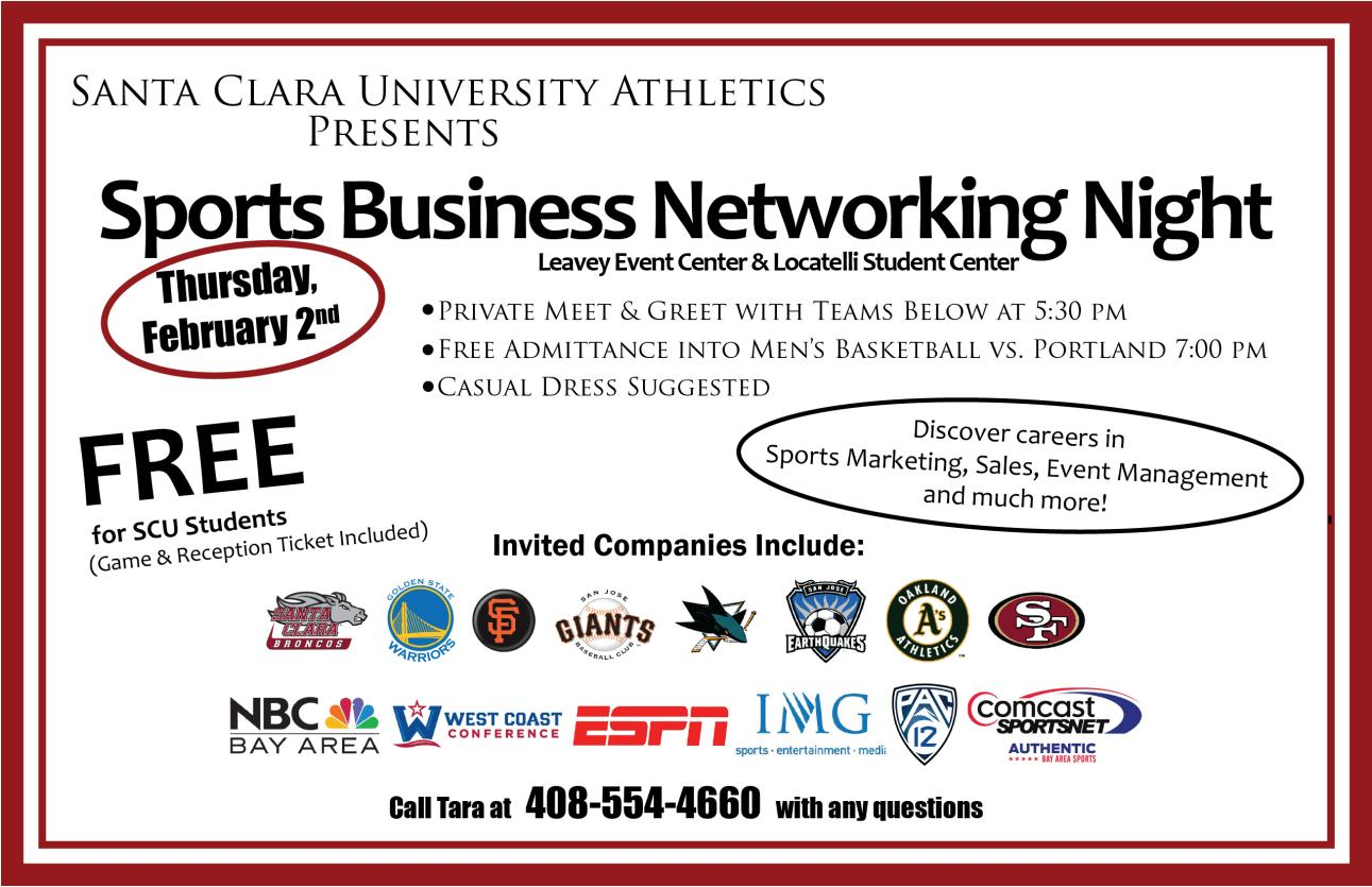 "Santa Clara Hosts ""Sports Business Networking Night"" on Feb. 2, Prior to Men's Basketball Game with Portland"
