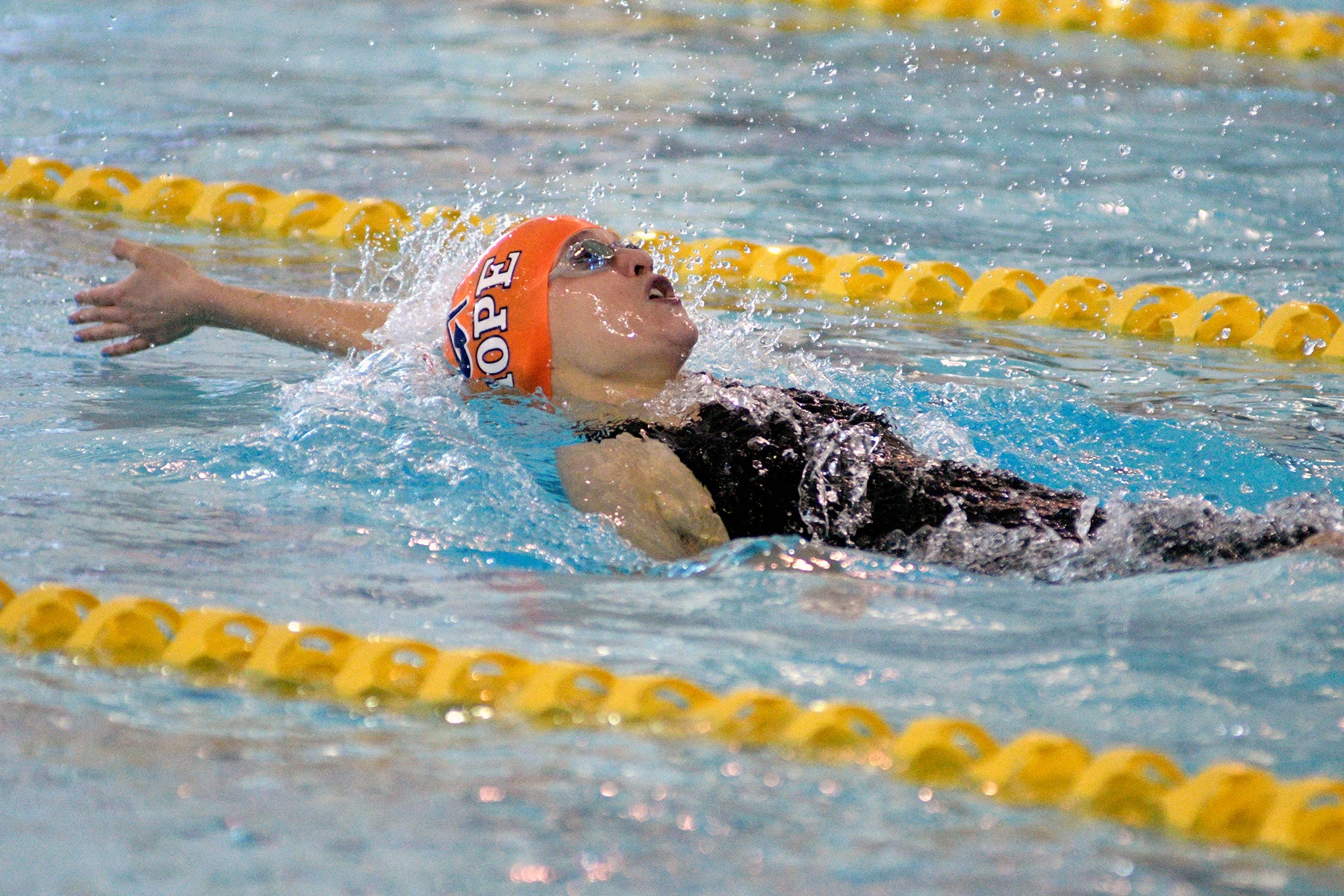 Meg Peel swims the backstroke.