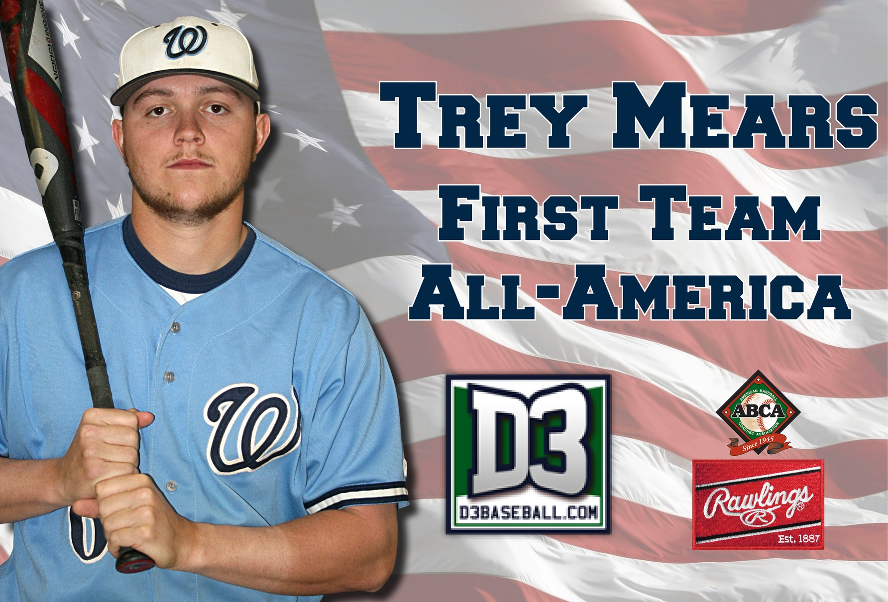 Mears collects First Team All-America honors from ABCA/Rawlings and D3baseball.com