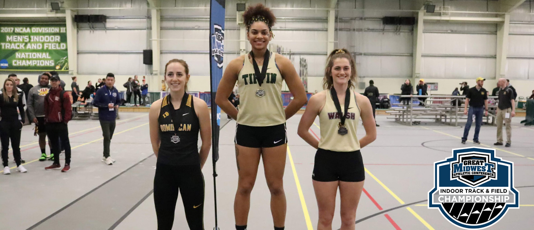 Megan Tamasovich (left) finished in third place overall in the women's pentathlon during the first day of the Great Midwest Athletic Conference Indoor Track and Field Championships.