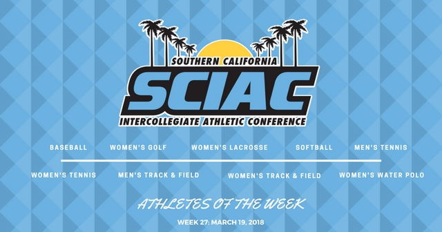 SCIAC Athletes of the Week: March 19, 2018