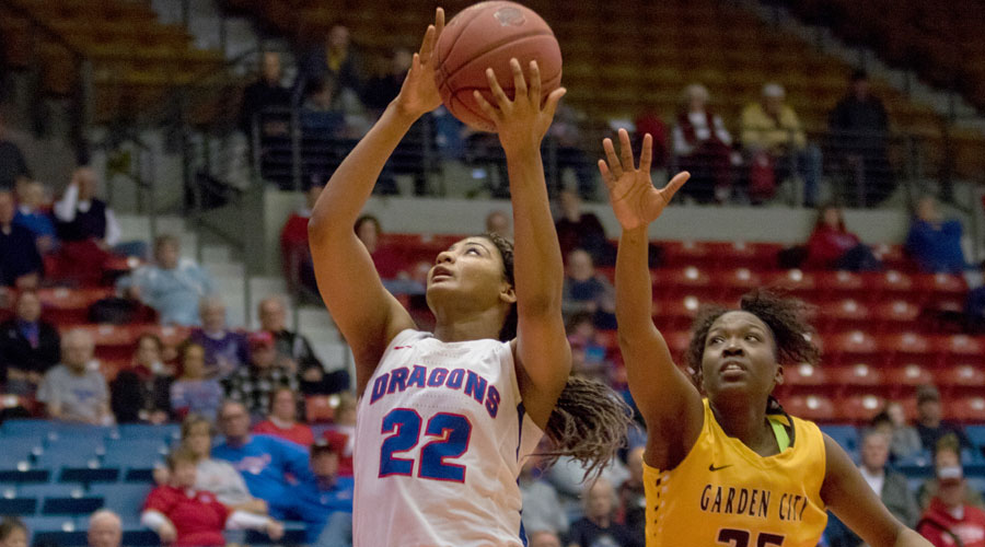 Dejanae Roebuck had her 10th double-double of the season with 11 points and 10 rebounds, but No. 14 Hutchinson dropped a 56-48 decision to Garden City on Wednesday at the Sports Arena. (Allie Schweizer/Blue Dragon Sports Information)