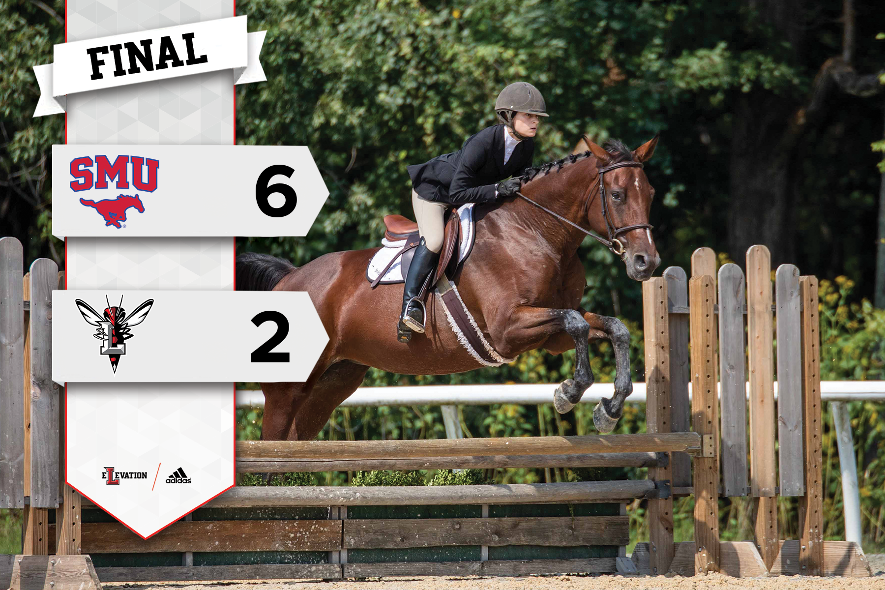 A rider jumps over a fence on a horse. Graphic showing SMU's 6-2 win over Lynchburg in equestrian competition.
