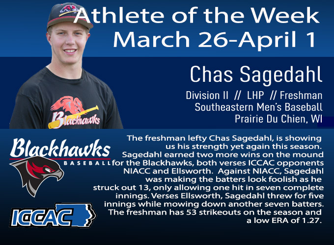 Sagedahl Receives Conference Athlete of the Week Again