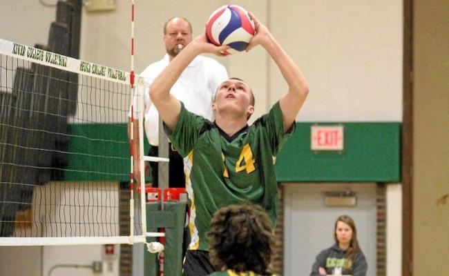 Freshman Chris Corcoran handed out 32 assists in men's volleyball's four-set loss to Wells College Friday night (photo courtesy of Ed Webber, Keuka College Sports Information department).