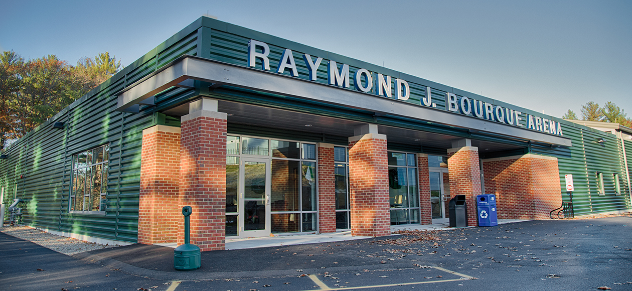 Photo of the outside of Raymond J. Bourque Arena.