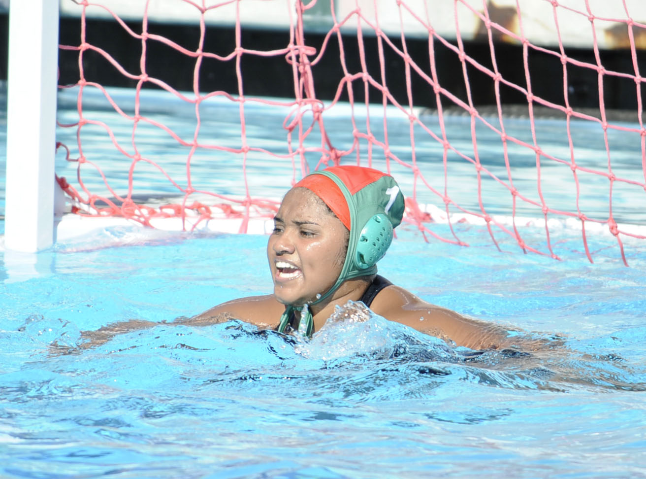 Freshman Alejandra Gazpar reacts after clearing a goal. Gazpar had 11 saves in a 21-10 win against Rio Hondo. (Photo by Tadzio Garcia.)