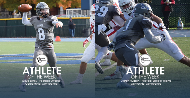 Doug Erney '21 and Aaron Hudson '18 named as the Centennial Conference Football Offensive and Special Teams Athletes of the Week.