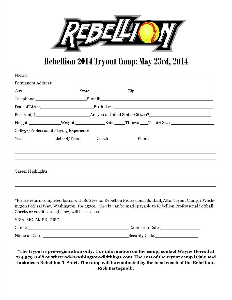 Rebellion open tryout date friday may 23rd 2014 for Sport registration form template