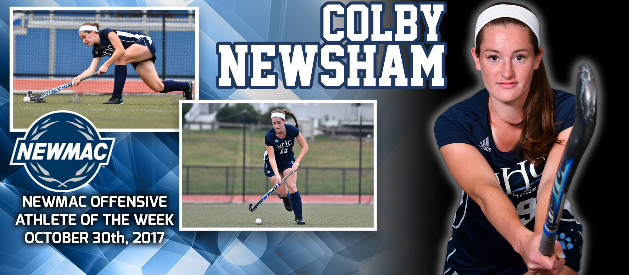 Photo of Colby Newsham who was named the NEWMAC Offensive Athlete of the Week for October 30th
