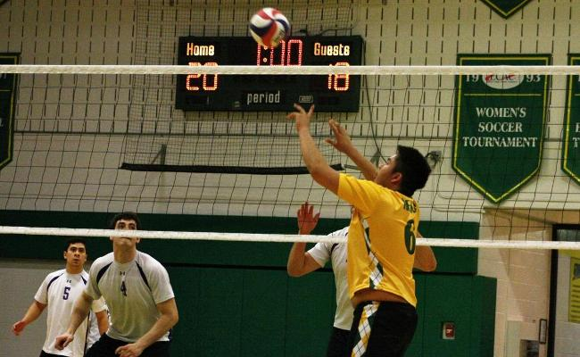 Freshman Brandon Mitu had a career-high 47 assists as the Keuka College men's volleyball team defeated NYU-Polytechnic in four sets Friday night (photo courtesy of Taylor Smith, Keuka College Sports Information Department).