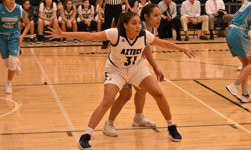 Freshman Shauna Bribiescas had 14 points and nine rebounds in Pima's 78-63 loss to Utah State University-Eastern on Saturday in Ephraim, UT. The Aztecs are now 6-2 overall. Photo by Ben Carbajal.