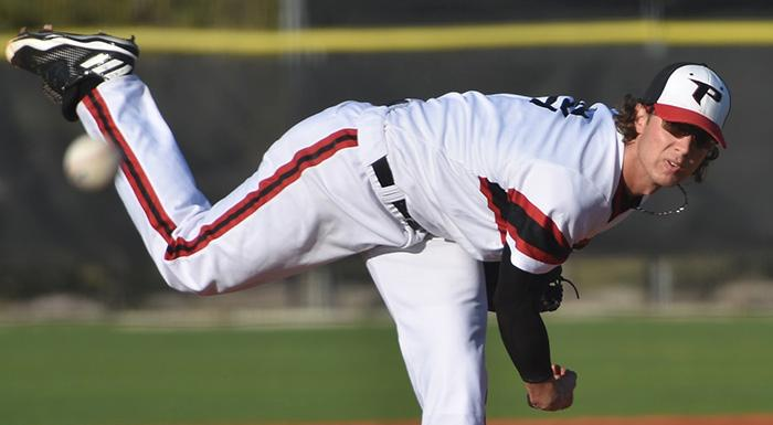 Jordan Spicer improved to 5-0 as the Eagles beat the Hawks 4-2. (Photo by Tom Hagerty, Polk State.)