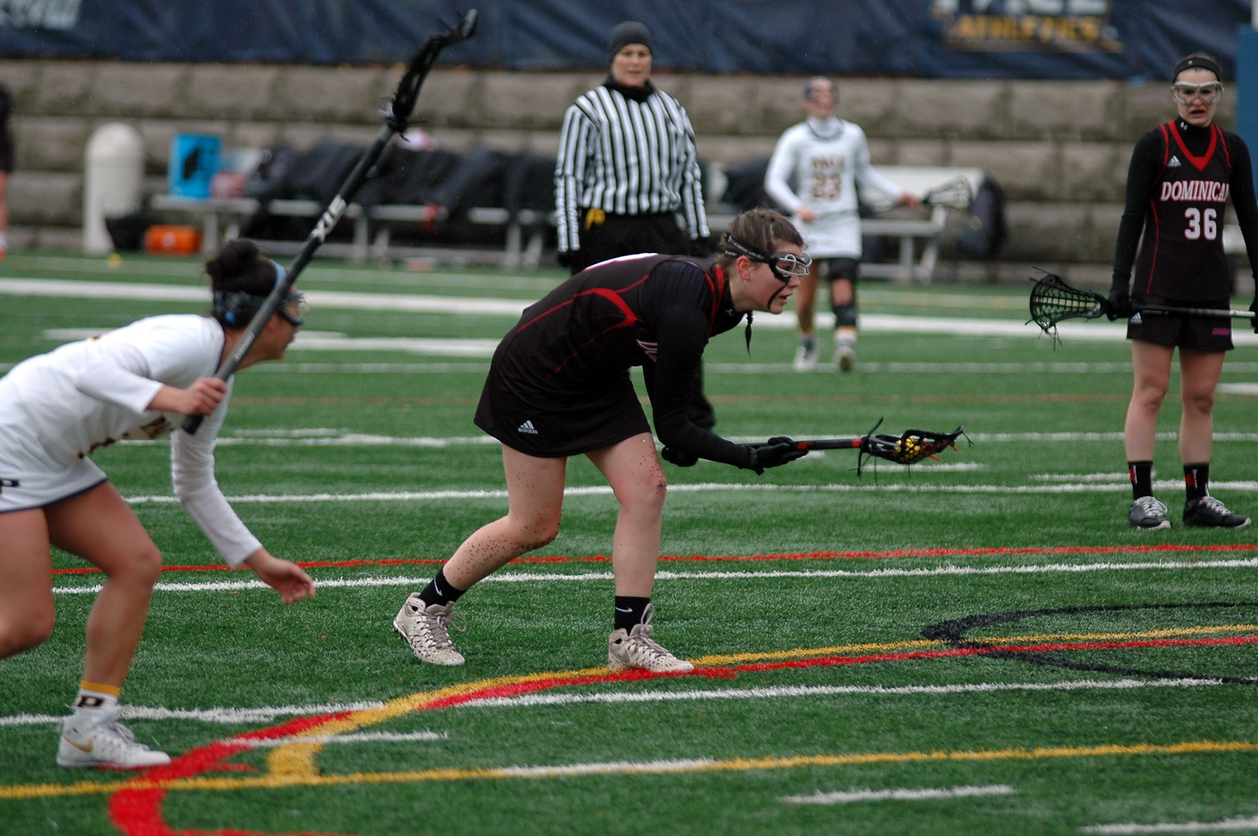 The women's lacrosse team improved to 2-1 in CACC play with a win over Holy Family University.