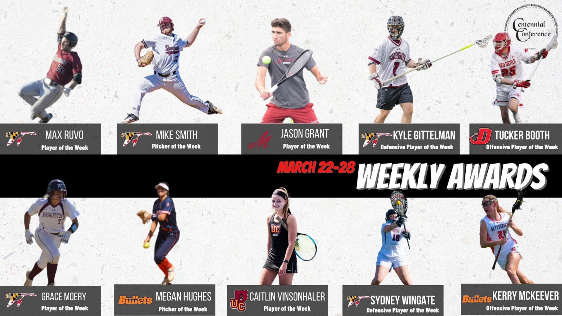 Centennial Conference Athletes of the Week - March 22-28