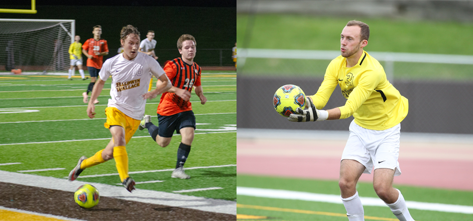 Junior Academic All-OAC forward Joey Geither and junior goalkeeper Patrick Mehal (Photos courtesy of Lori Kumorek and John Reid)