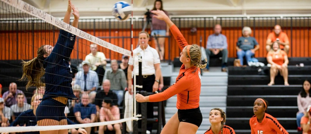 Madi Goodman playing volleyball.