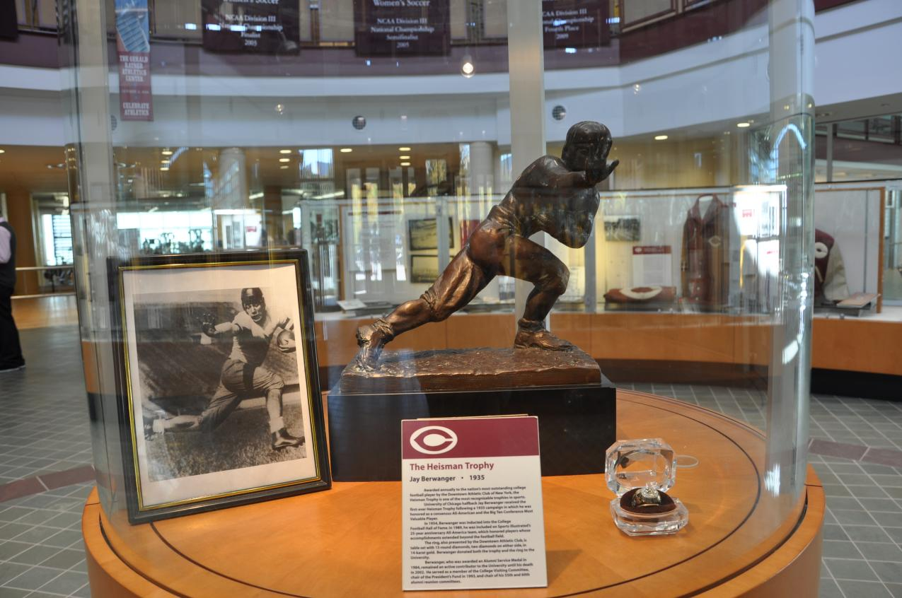 Jay Berwanger's Heisman Trophy in the Ratner Athletics Center