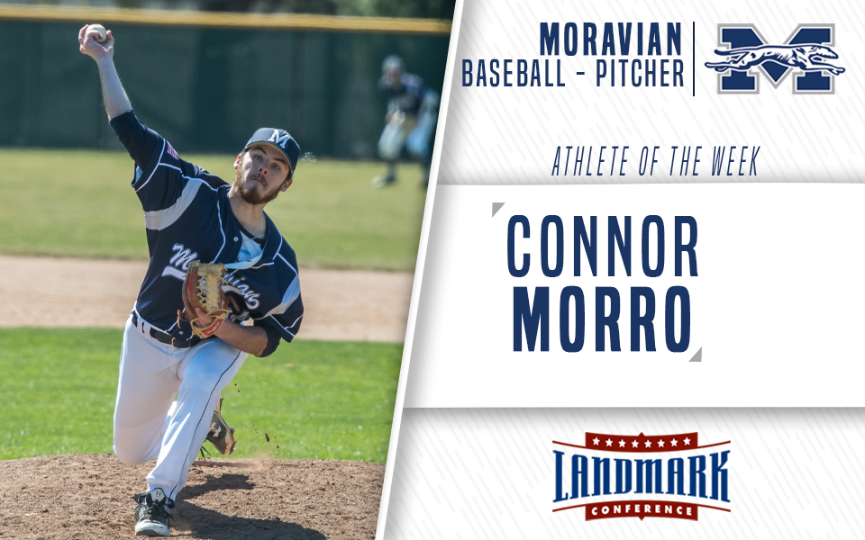 Junior Connor Morro honored as Landmark Conference Pitcher of the Week.