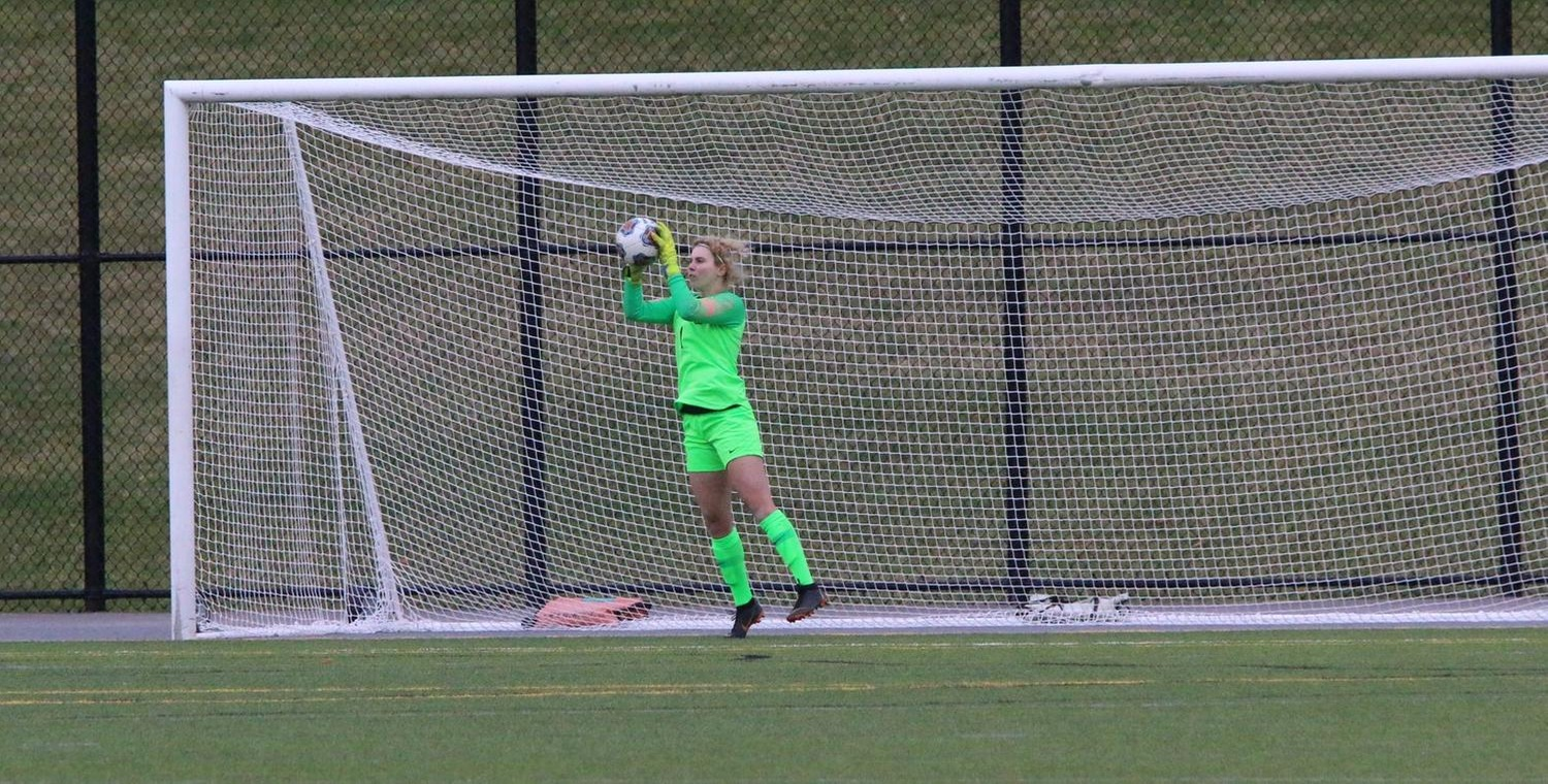 Jess Pegg (1) made a season-high 11 saves for Keuka College on Friday