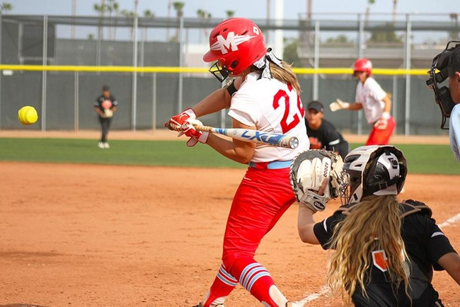 Ryann Holmes connected on her 8th homerun of the season at Glendale Tuesday afternoon. (Photo by Aaron Webster)