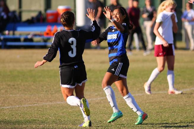 (L-R) Ashley Anaya-Webb (3) and Jazmin Aguas combined for three goals in the Falcons 5-1 playoff win over Mt. SAC