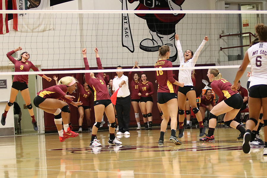 Let the celebration begin as the PCC women's volleyball team moved into first place in the SCC North Division with this 4-set win at Mt. San Antonio Wednesday, photo by Richard Quinton.