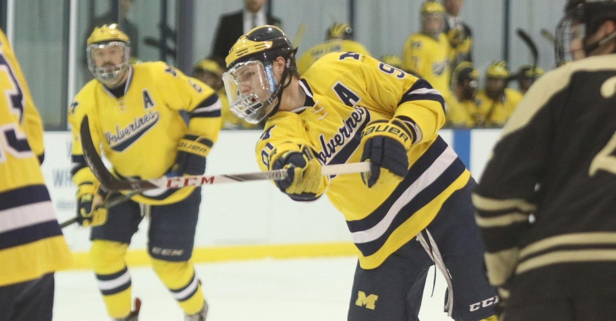 Three hat tricks propel No. 2 Wolverines to 12-2 win