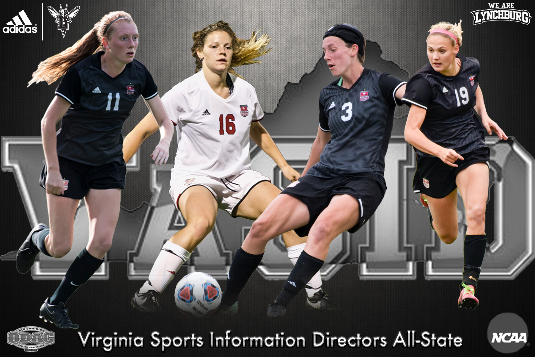 Caitlin Mertens, Kara Rombough, Emily Maxwell, Kennedy Jakubek shown playing soccer on graphic. Text: Virginia Sports Information Directors All-State
