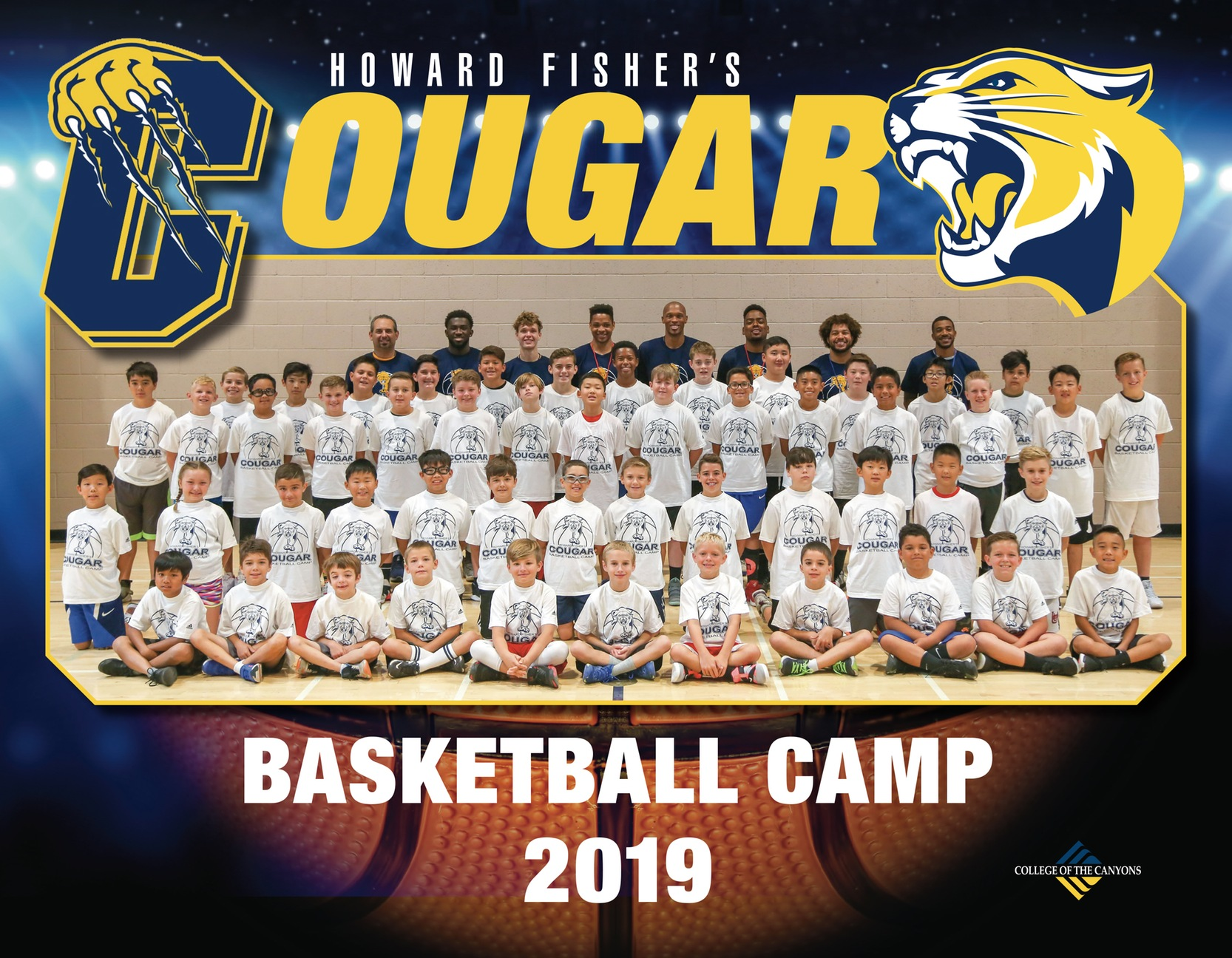 2019 Cougar Basketball Summer Camp group photo.
