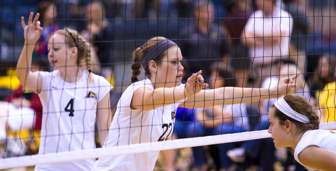 Seniors lead Pirates to exciting five-set win over HSU