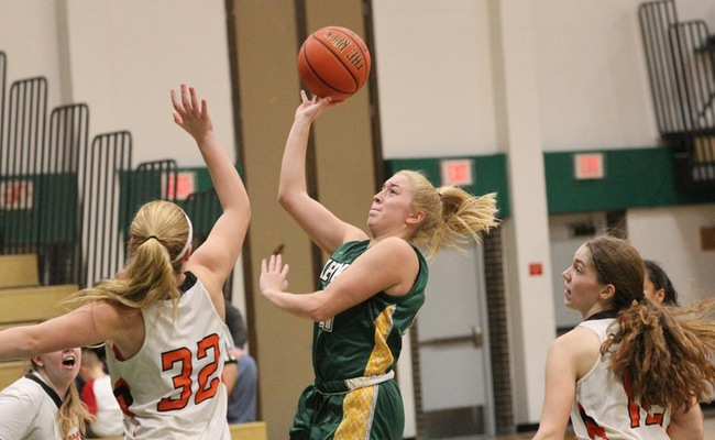 Sam Laranjo (21) scored a career-high 12 points for Keuka College on Sunday -- Photo by Ed Webber
