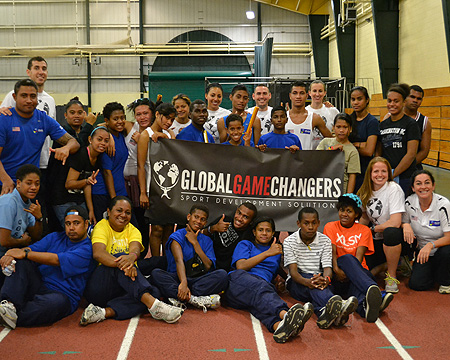 Deaf students from the Pacific Islands with members of GGC including Gallaudet coach Mikaela Hudson
