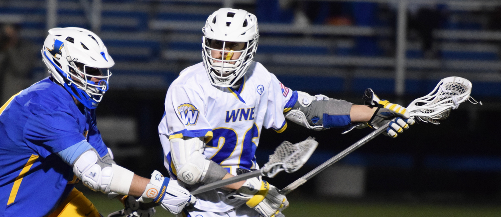 Jared Ward produced a game-high 7 points (4G, 3A) in Western New England's 14-10 win over UNE on Saturday. (Photo by Rachael Margossian)