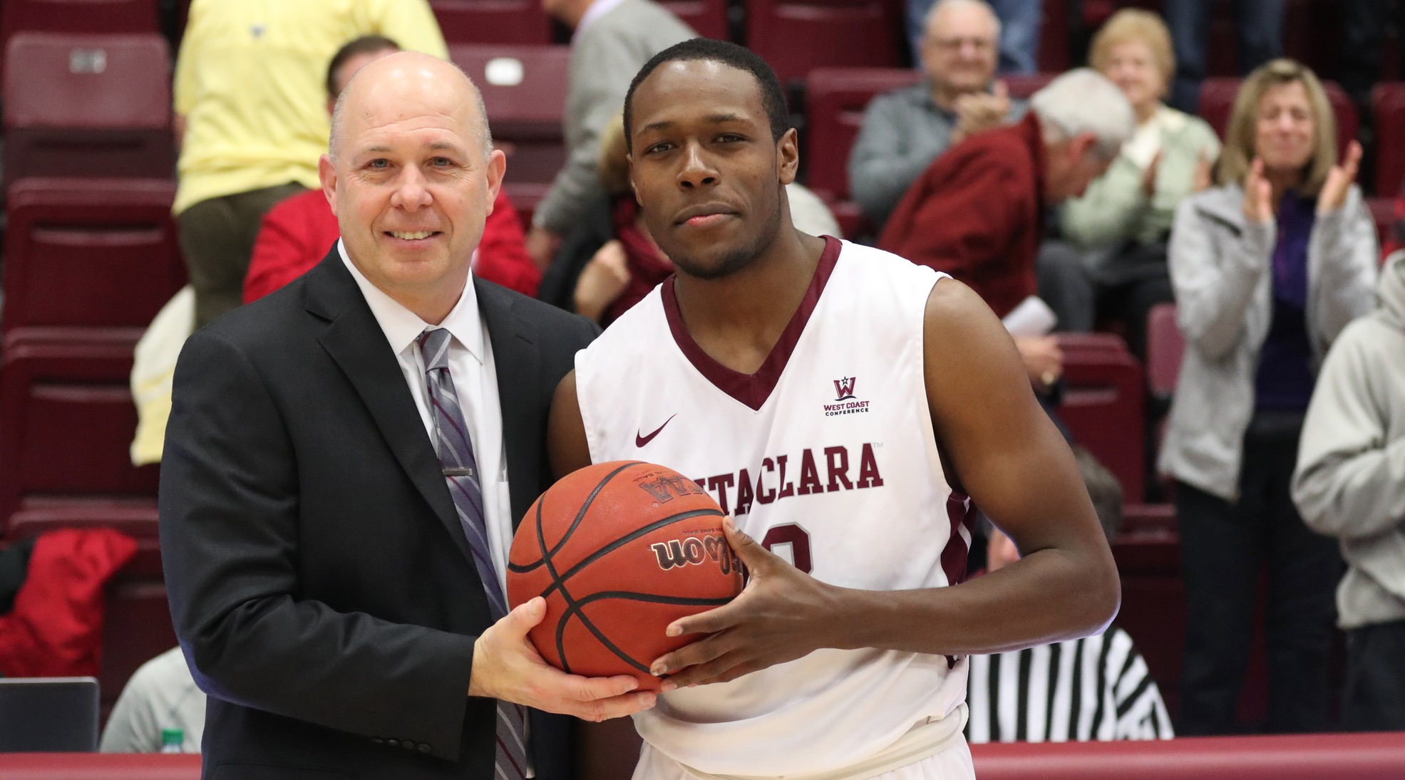 Herb Sendek presented Jared Brownridge with the game ball for reaching 2,000 career points.