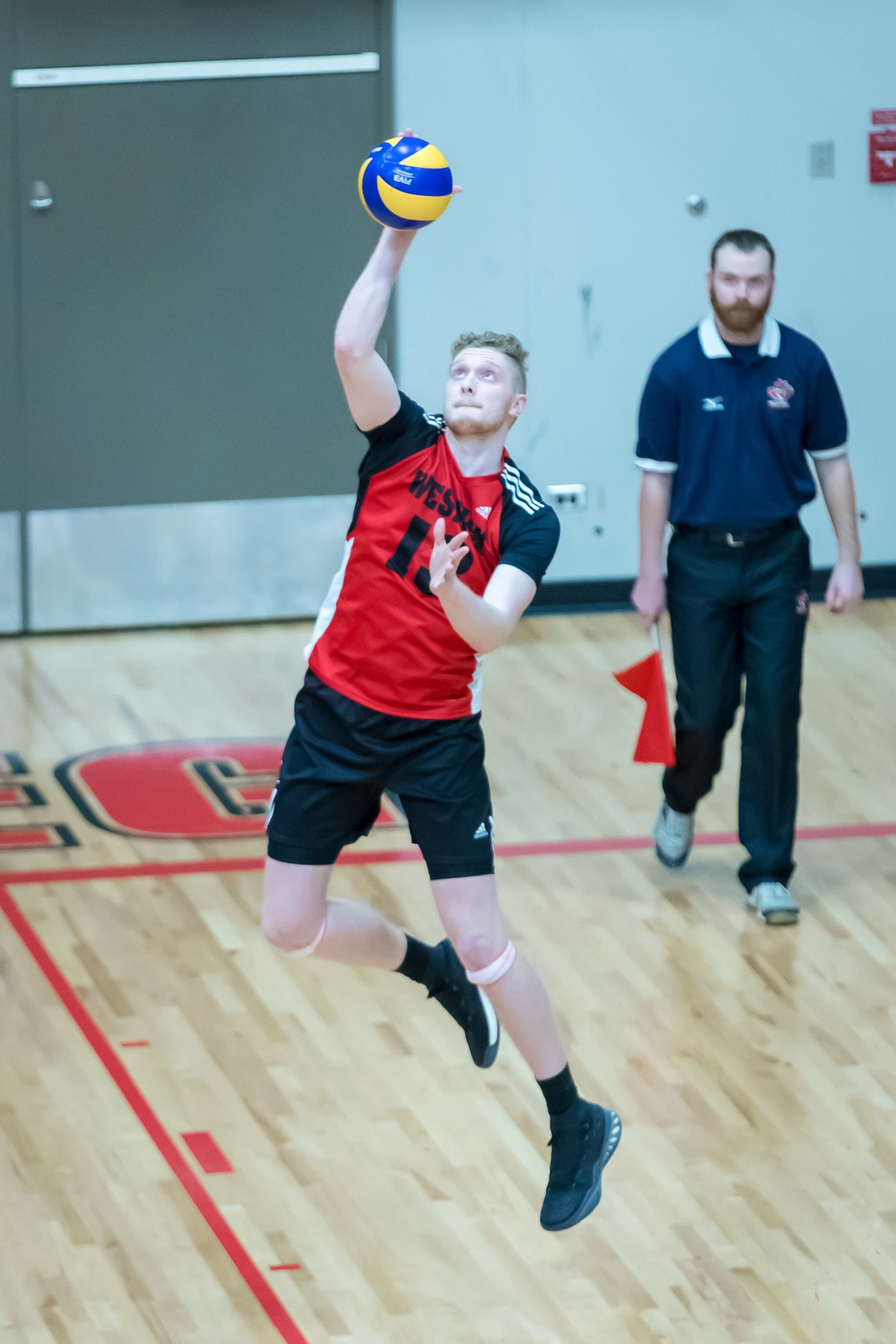Ethan Duncan had two aces, as well as 12 kills, as the Wesmen beat the UBCO Heat Friday night. (Kelly Morton photo)