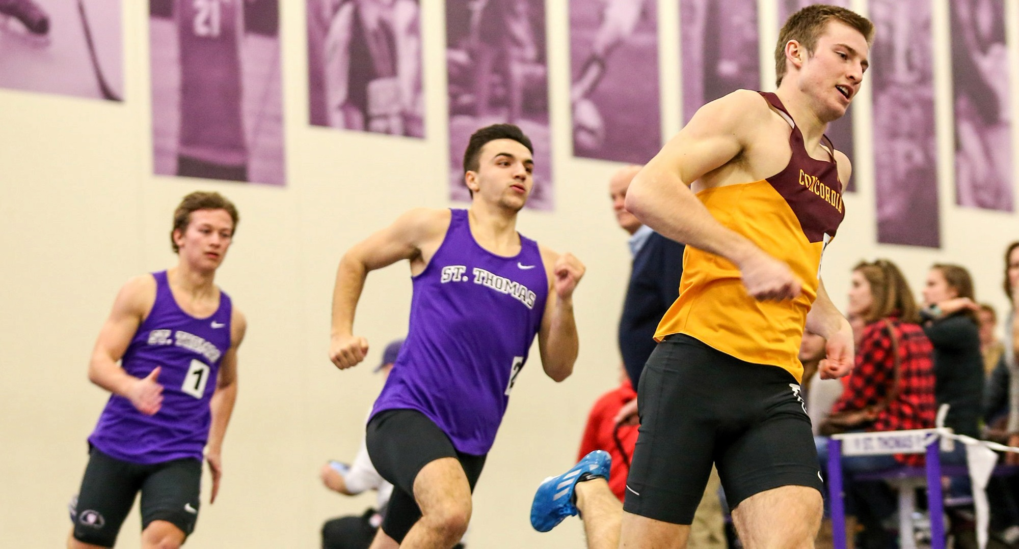 Sophomore David Supinski races to breaking his own school record in the 600 meters on Saturday at the MIAC Meet. (Photo courtesy of Nathan Lodermeier)