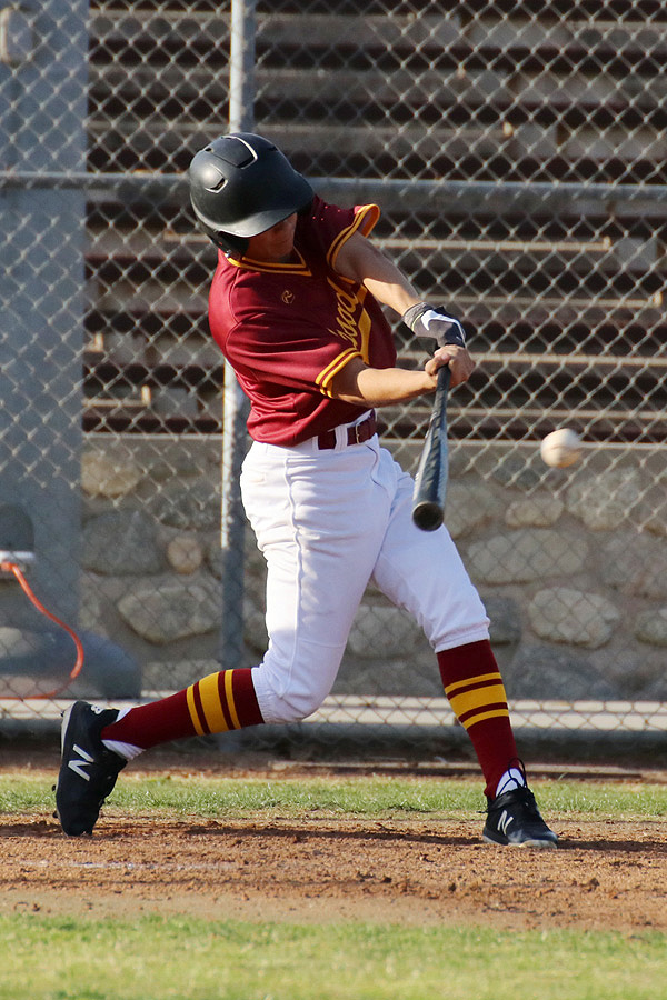 Edward Manzo hit the game-winning double in Monday's 6-4 win at Cerritos College, photo by Richard Quinton.