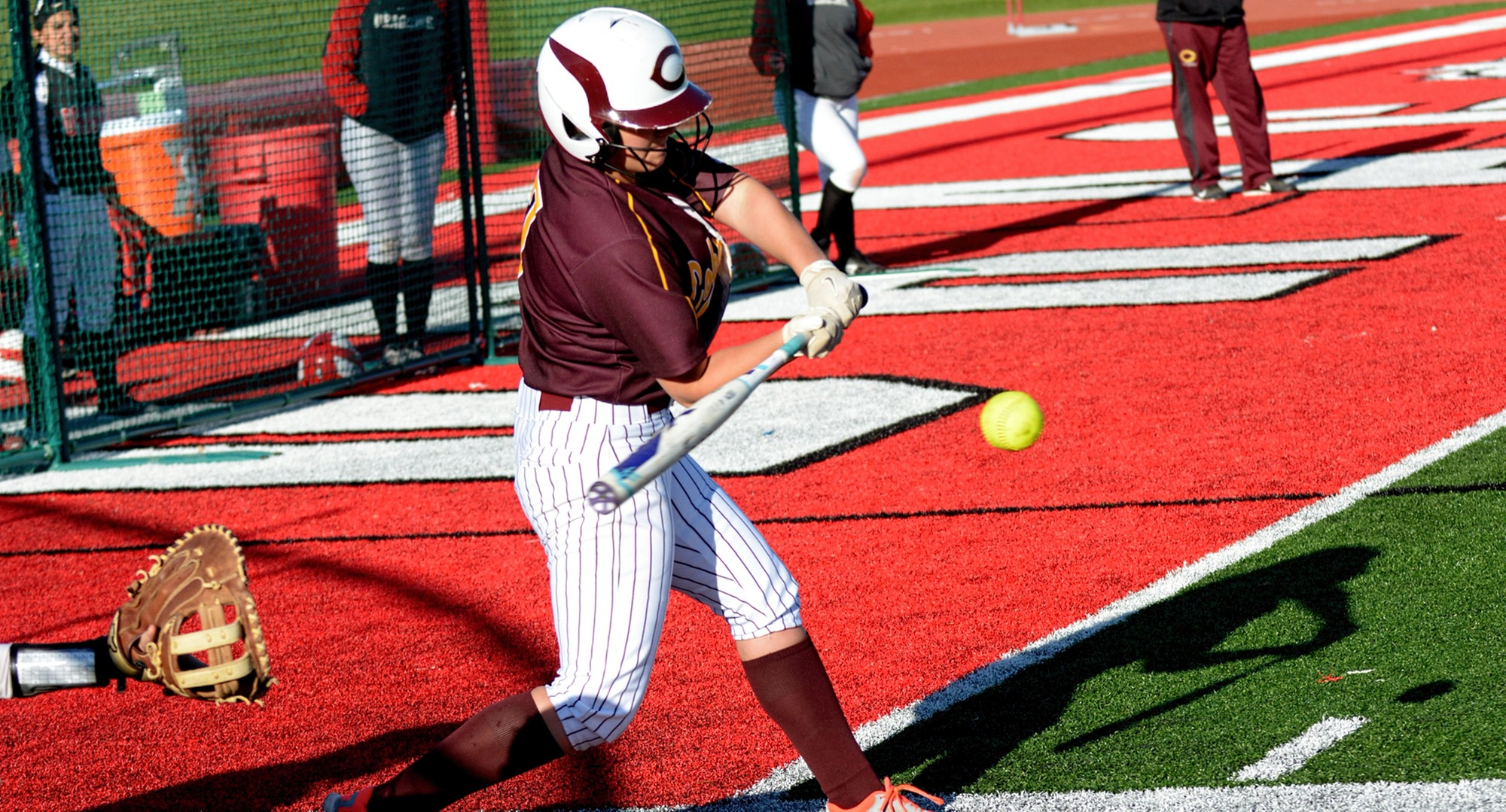 Sophomore Nicole Johannes connects on a pitch in the Cobbers' DH at MSU Moorhead. Johannes had her first home run of the season in the first game.