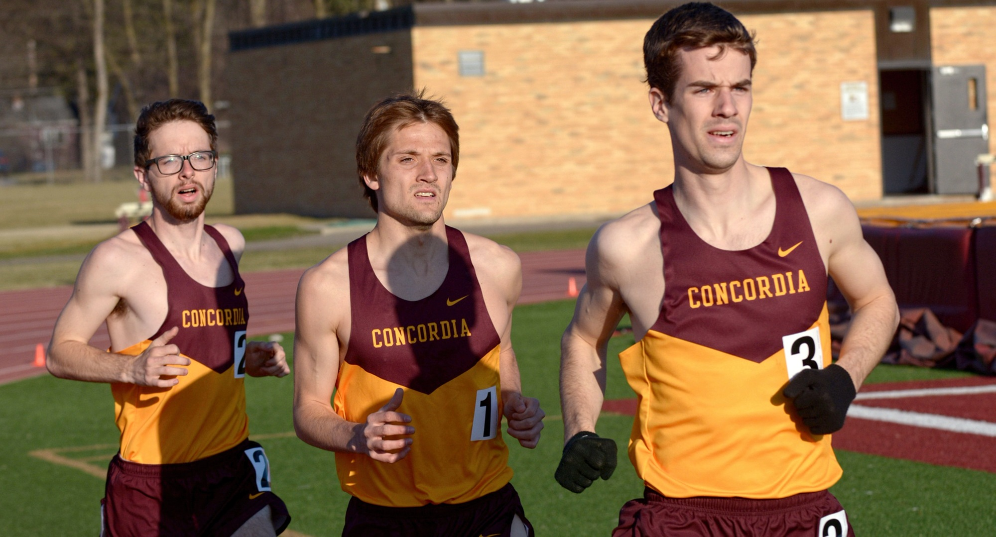 The Cobber distance trio of Matthew Lillehaugen (R), Brandon Quibell  and Eric Wicklund (L) all had success at the Drake Relays and the Al Cassell Relays at Jamestown.