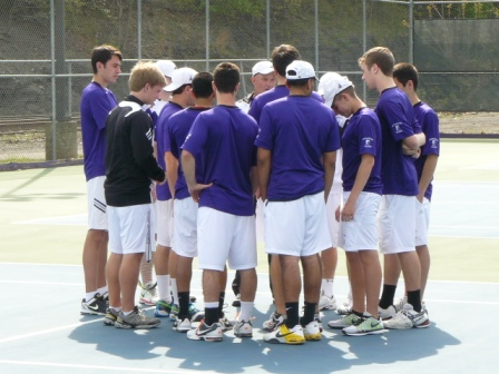The men's tennis team will host Catholic University in a Landmark Conference semifinal match Wednesday, April 25, at 3:00 p.m. at the Royal Courts.  In case of inclement weather, the match will take place at the same time at the Birchwood Fitness & Tennis Club in nearby Clarks Summit.