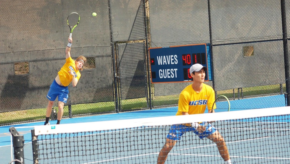 Morgan Mays (serving) and Simon Freund will become the first UCSB doubles team to play in the NCAA Championships since 1992 when they play Alfredo Perez and Johannes Ingildsen of the University of Florida on Thursday in Athens, Ga. (Photo by Sara Otteman)