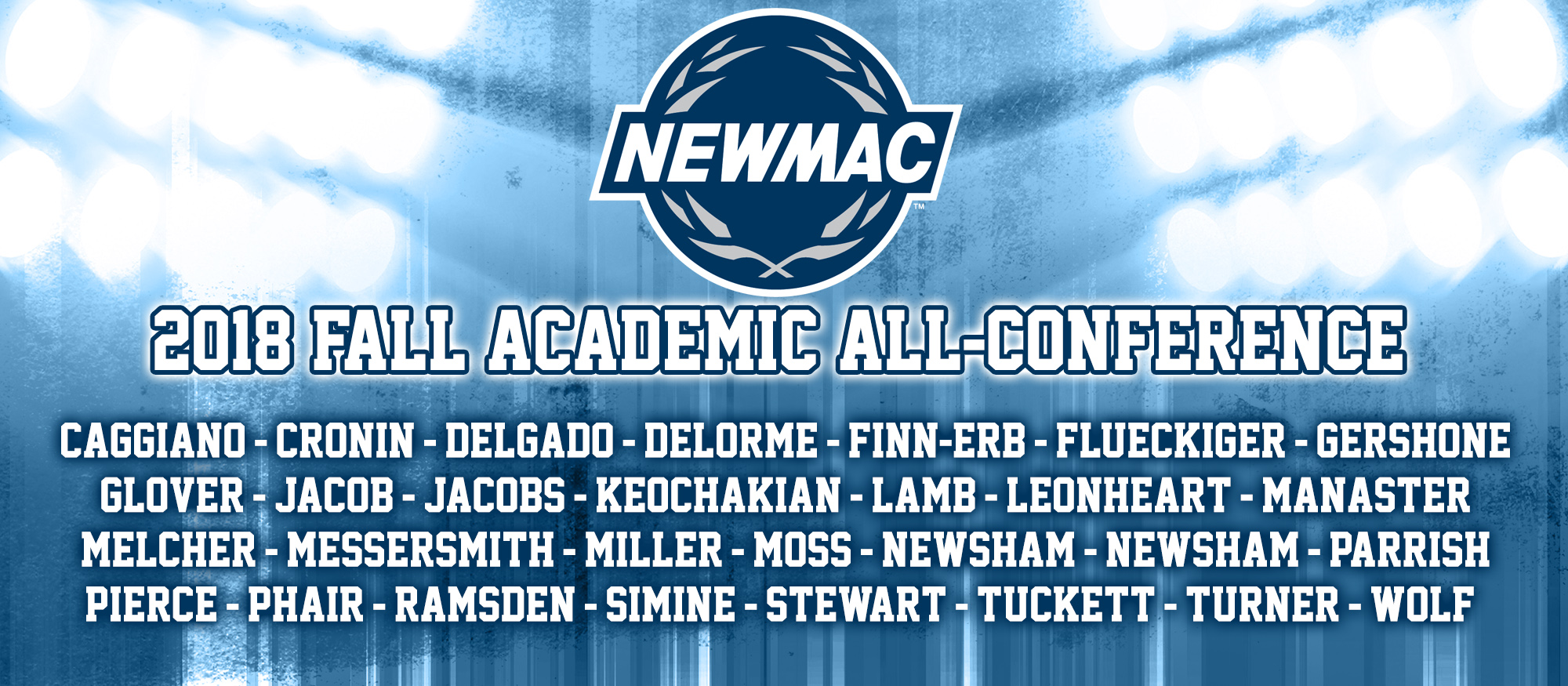 Graphic depicting the 29 student-athletes named to the 2018 NEWMAC Academic All-Conference Teams from cross country, field hockey, soccer and volleyball.